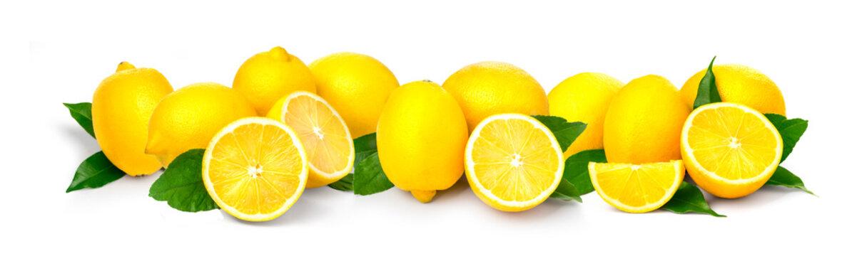 border  Ripe lemons close-up