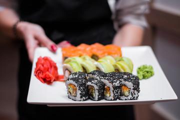 Fotobehang Sushi bar food dish sushi cocktails menu