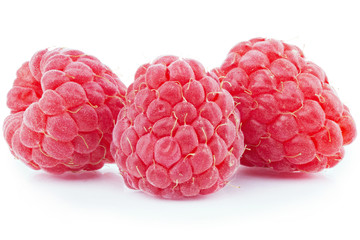 a bunch of fresh raspberries isolated