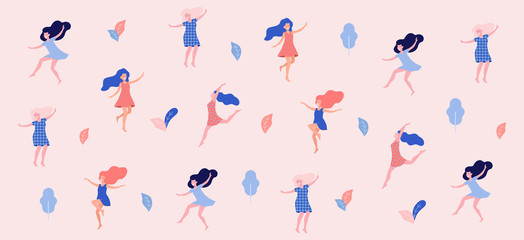 Happy dancing women vector illustration. Fotoväggar