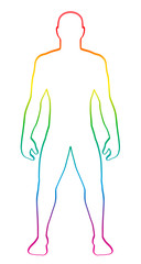 Male muscular body shape. Rainbow gradient colored human silhouette. Outline vector illustration on white background.