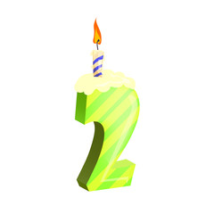 Number two candle illustration