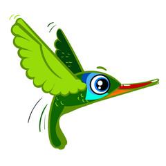 The little green Humming-bird flies