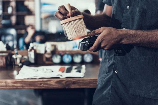Hair stylist preparing barber tool to working