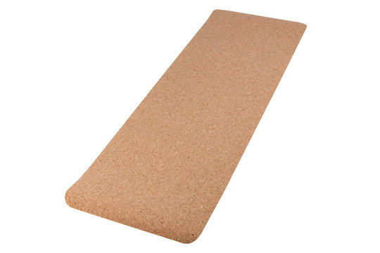 mat for fitness or yoga from the material of the cortical tree and rubber, on a white background, isolate