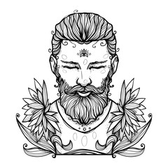 The man with a beard and flowers. Modern character illustration. Nice print or emblem. Contemporary graphic artwork.