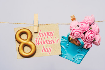 Happy International Women's Day celebrate on March 8, congratulatory CARD envelope with roses and number 8