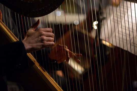 hands playing the harp