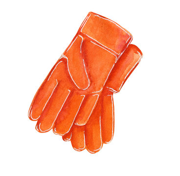Red rubber gloves for gardening, hand drawn watercolor illustration isolated on white