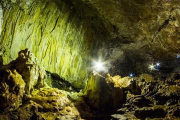 Scene from Ialomita cave, near Padina plateau, Bucegi, Romania