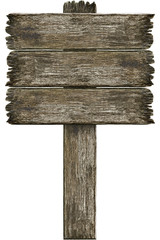 Old grunge wooden sign isolated on white
