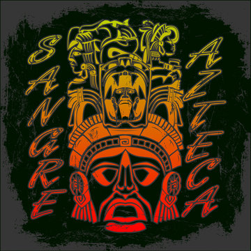 Sangre Azteca, Aztec Blood Spanish text Aztec Pride vector design, Tattoo inspiration