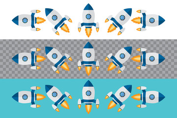 Rocket. Spaceship icon in flat design. Vector illustration.