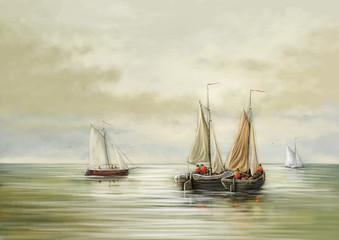 Paintings sea landscape, sailing ship in the sea. Fine art