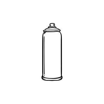 Spray paint in metal container for drawing street wall graffiti in sketch style.