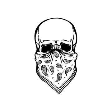 Human skull with bandana as face mask in sketch style isolated on white background.