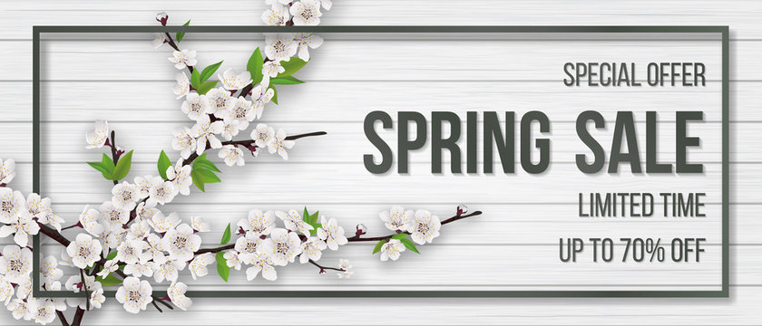 Spring card with blooming branch.