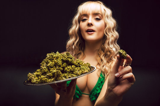 Blonde caucasian woman in cannabis bikini poses with tray of marijuana buds
