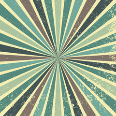 retro sunburst background vector pattern with a vintage color palette of blue green brown and beige in a striped design with texture grunge