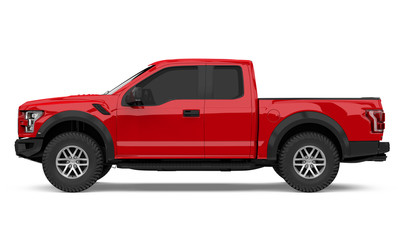 Red Pickup Truck Isolated