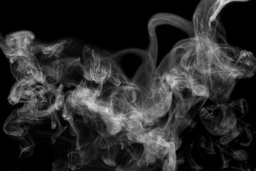 isolated smoke, abstract powder, water spray on black background.