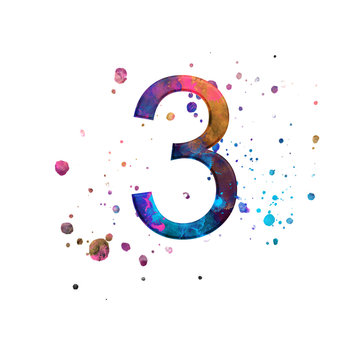 Number 3 illustration on isolated white background. Watercolor alphabet symbol with splatter.