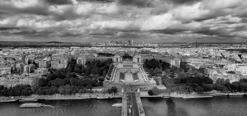 Aerial view of Paris from the Eiffel Tower. Paris, France. - Image HDR photo that shows the whole city.
