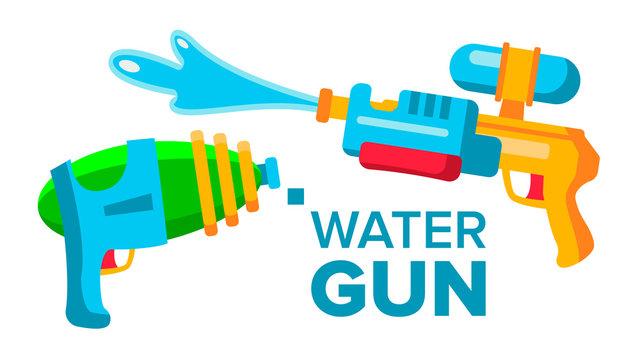 Water Gun Set Vector. Isolated Flat Cartoon Illustration