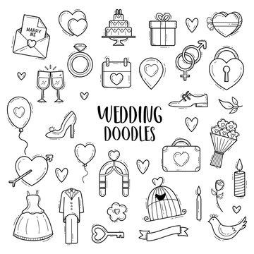 Vector doodle wedding hand drawn sketch