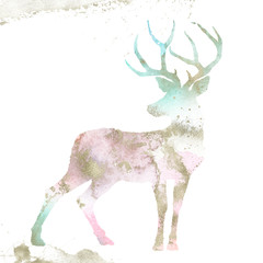 Watercolor Textured Animal - reindeer composition with gold brush stroke. Unique collection for wedding invites decoration, logo and many other concept ideas.