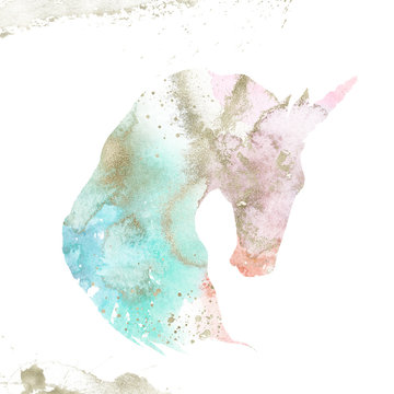 Watercolor Textured Animal - unicorn composition with gold brush stroke. Unique collection for wedding invites decoration, logo and many other concept ideas.
