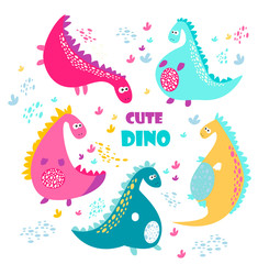 Cute vector color dinosaurs. Set