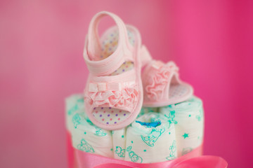 baby diaper cake close toddler footwear small baby tea