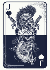 Joker playing card tattoo and t-shirt design. Spartan warrior. Gothic symbol of gamblings, tarot cards, success and defeat, casino, poker