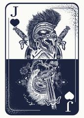 Jocker playing card tattoo and t-shirt design. Spartan warrior. Gothic symbol of gamblings, tarot cards, success and defeat, casino, poker