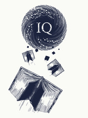 Open books fly to the world knowledge tattoo and t-shirt design. IQ test concept. Symbol of education, literatures, poetry, reading
