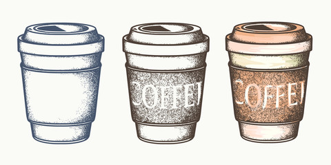 Set of paper coffee cups. Hand drawn element, vector template