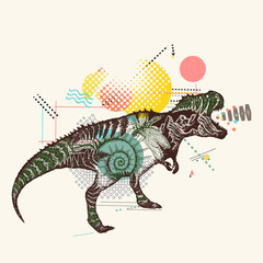 T-Rex dinosaur monster. Tyrannosaur double exposure. Symbol of education and science. Zine culture style, fashion contemporary collage