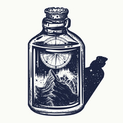 Mountain and compass in bottle tattoo and t-shirt design. Adventure, travel, outdoors symbol