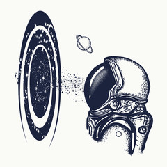 Astronaut and universe tattoo and t-shirt design. Symbol of knowledge, studying, science