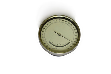 Barometer, a device for measuring atmospheric pressure, on a white background.