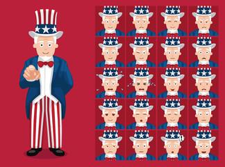 Cute Uncle Sam Costume Cartoon Emoticon Faces Vector Illustration
