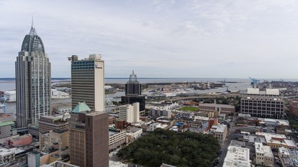Aerial view of downtown Mobile, Alabama. February 2019
