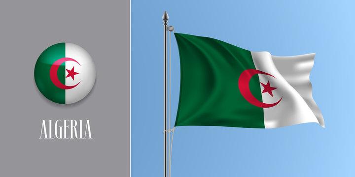 Algeria waving flag on flagpole and round icon vector illustration