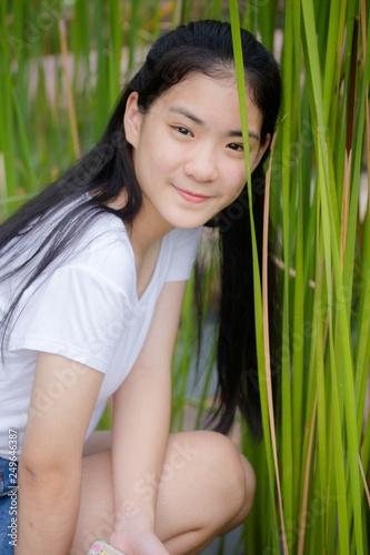 Asia Thai Teen White T Shirt Beautiful Girl Happy And Relax
