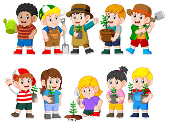 collection of kids holding young green plant
