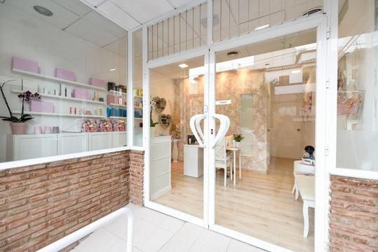 Beauty center, wellness and spa salon entrance.