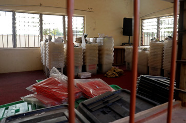 Electoral materials are seen at the Independent National Electoral Commission offices following the postponement of the presidential election in Daura