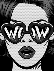 Fotobehang Pop Art Black and white vector illustration in comic pop art style. The girl in glasses in the shape of a heart with an inscription wow. The girl opened her mouth in surprise. Vintage poster with female face