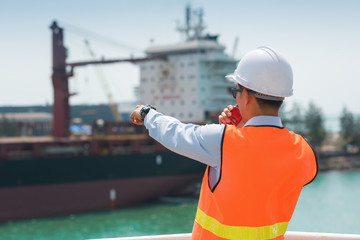 Harbor master supervisor is survey and inspection of the safty berthing along side